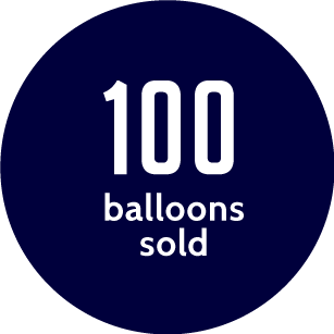 100 balloons sold